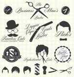 Wektor Ustawiający: Retro fryzjera męskiego sklepu etykietki Zdjęcie Stock