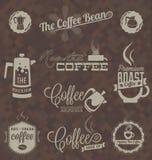 Wektor Ustawiający: Retro sklep z kawą etykietki, symbole i royalty ilustracja