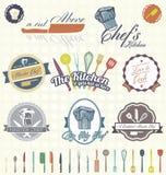 Wektor Ustawiający: Retro szef kuchni etykietki, ikony i ilustracja wektor