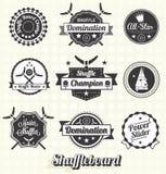 Wektor Ustawiający: Shuffleboard ikony i etykietki Zdjęcie Royalty Free