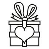 Wektor walentynek Giftbox Pojedyncza ikona z serce znakiem Fotografia Royalty Free