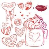 Wektor walentynki ustalony dzień Wręcza patroszonych ilustracyjnych cukierki, ciastka, truskawki, filiżanka gorąca czekolada, ser royalty ilustracja