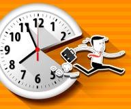 Wektor wielki ścienny zegar i działający biznesmen Zdjęcia Stock