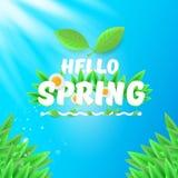 Wektor wiosny sztandar z zieloną trawą, niebem i kwiatami cześć, cześć wiosny ulotka, sztandar lub tło z zieleni polem, ilustracja wektor
