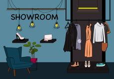 Wektor witryny sklepowej odzieżowa ilustracja Sala wystawowej szafa z kurtką, suknią i koszulką na wieszaku, buty na gablocie wys royalty ilustracja