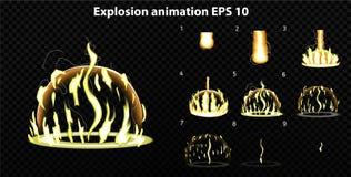 Wektor wybucha Wybucha skutek animację z dymem Kreskówka wybuchu ramy Sprite prześcieradło wybuch ilustracja wektor
