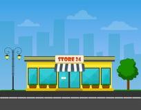 Wektor wyszczególniający rynek na pejzażu miejskiego tle, sklep lub sklep lub Obraz Royalty Free