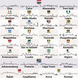 Wektor zarysowywa ikony afrykańskie miasto linie horyzontu ilustracji