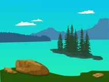 Wektor zieleni krajobraz z górami, świerczynami i kamieniami, - Para ilustracja wektor