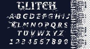 Wektor zniekształcająca usterki chrzcielnica Modny stylowy literowania typeface Łacińscy listy od A Z i liczby od (0) 9 ilustracja wektor