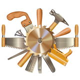 Wektor Zobaczył ostrze z Retro narzędziami ilustracji
