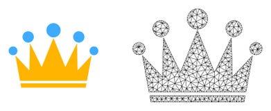 Wektorowa ścierwo siatki korona i mieszkanie ikona ilustracji