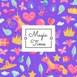 Wektorowa śliczna kreskówki magia, bajka z jednorożec i royalty ilustracja