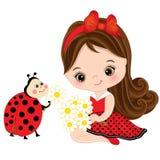Wektorowa Śliczna mała dziewczynka z biedronką i kwiatami Obraz Royalty Free
