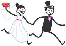 Wektorowa ślubna ilustracja szczęśliwych kij postaci pary bridal mienie wręcza bieg, ślubny zaproszenie szablon royalty ilustracja
