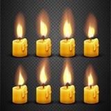 Wektorowa świeczka z pożarniczą animacją na przejrzystym tle royalty ilustracja