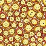 Wektorowa żółta ręka rysujący słonecznikowy kreskówki powtórki wzór Stosowny dla opakunku, tkaniny i tapety prezenta, ilustracja wektor