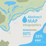 Wektorowa abstrakcjonistyczna część mapa z rzeką, morzem, wyspą, ziemią i lasem, tła tło dla infographics ilustracji