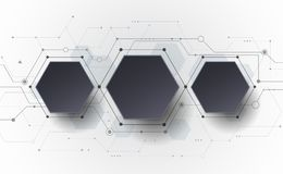 Wektorowa Abstrakcjonistyczna futurystyczna obwód deska na świetle - szary tło, techniki technologii cyfrowej pojęcie Zdjęcia Stock