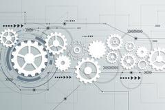 Wektorowa abstrakcjonistyczna futurystyczna przekładni koła inżynieria na obwód desce Obraz Stock