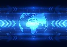Wektorowa abstrakcjonistyczna globalna przyszłościowa technologia, elektryczny telekomunikacyjny tło Zdjęcia Royalty Free