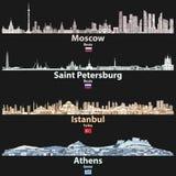 Wektorowa abstrakcjonistyczna ilustracja Moskwa, świętego Petersburg, Istanbuł i Ateny miast linie horyzontu przy nocą w jaskrawy ilustracja wektor