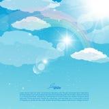 Wektorowa abstrakcjonistyczna ilustracja niebo z tęczą Obrazy Stock
