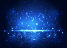 Wektorowa abstrakcjonistyczna przyszłościowa sieci technologia, ilustracyjny tło Fotografia Royalty Free