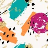 Wektorowa abstrakcjonistyczna ręka rysujący bezszwowy wzór z geometrycznymi i szczotkarskimi malującymi elementami Obraz Royalty Free