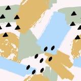Wektorowa abstrakcjonistyczna ręka rysujący bezszwowy wzór z geometrycznymi i szczotkarskimi malującymi elementami Fotografia Royalty Free