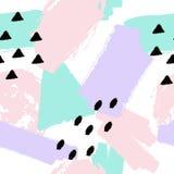 Wektorowa abstrakcjonistyczna ręka rysujący bezszwowy wzór z geometrycznymi i szczotkarskimi malującymi elementami Zdjęcia Stock