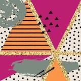 Wektorowa abstrakcjonistyczna ręka rysujący wzór z geometrycznymi i szczotkarskimi malującymi elementami Obraz Royalty Free