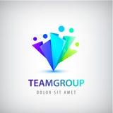 Wektorowa abstrakcjonistyczna stylizowana rodzina, drużyny ołowiana ikona, logo, podpisuje odosobnionego ilustracji