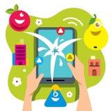 Wektorowa Abstrakcjonistyczna wirtualna mobilna gra Mieszkanie kreskówki stylowa kolorowa ilustracja Zdjęcia Royalty Free