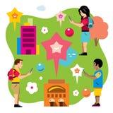 Wektorowa Abstrakcjonistyczna wirtualna mobilna gra Mieszkanie kreskówki stylowa kolorowa ilustracja Zdjęcia Stock