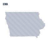 Wektorowa abstrakt fala mapa stan Iowa odizolowywał na białym tle Zdjęcia Royalty Free