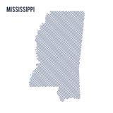 Wektorowa abstrakt fala mapa stan Mississippi odizolowywał na białym tle Zdjęcia Royalty Free