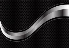 Wektorowa abstrakta srebra krzywa na czarnej okrąg siatce royalty ilustracja
