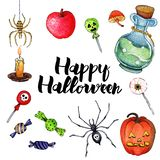 Wektorowa akwareli ilustracja dla Szczęśliwego Halloween 2 royalty ilustracja