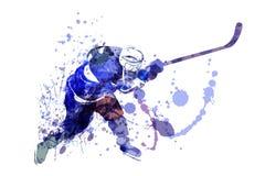 Wektorowa akwareli ilustracja gracz w hokeja Zdjęcia Royalty Free