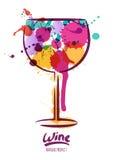 Wektorowa akwareli ilustracja kolorowy wina szkło i ręka rysujący literowanie royalty ilustracja