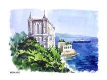 Wektorowa akwareli ilustracja Monaco ilustracja wektor