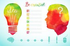 Wektorowa akwareli ludzkiej głowy ikona Akwareli kreatywnie pojęcie kreatywna osoba literowanie wycena Kreatywnie artysta, żarówk royalty ilustracja