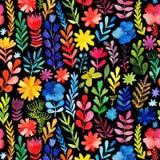 Wektorowa akwareli tekstura z kwiatami i roślinami ornament kwiecisty Oryginał kwitnie na czarnym tle ilustracji