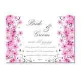Wektorowa akwareli zaproszenia karta z kwiatami dla poślubiać, małżeństwo, urodziny, Valentine& x27; s dzień Obrazy Stock