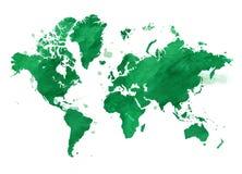 Wektorowa akwareli zieleni mapa świat z tłem Zdjęcia Stock