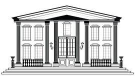 Wektorowa architektoniczna fasada Druciany ramowy projekta rysunek cla ilustracji