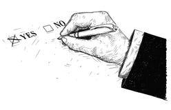 Wektorowa Artystyczna Rysunkowa ilustracja tak i Żadny mienia Ballpoint pióro kwestionariusz ręki i formy Zdjęcia Royalty Free