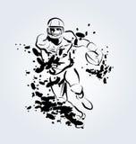 Wektorowa atrament ilustracja futbolu amerykańskiego gracz Zdjęcia Stock