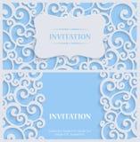 Wektorowa błękita 3d rocznika zaproszenia karta z Kwiecistym adamaszka wzorem ilustracji